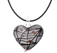 Heart Shape Stripe Coloured Glaze Necklace