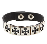Square Cross White Leather Bracelet