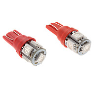 T10 1W 5x5050 SMD Red Light LED Bulb for Car (2-Pack, 12V)
