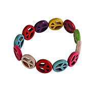 Lureme®1.5mm Colorful Peace Symbol Bracelet