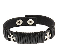Solid Cross Black Leather Bracelet