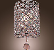 Contemporary Crystal Drop Pendant Light in Cylinder Style