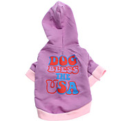 Dog Hoodie Purple Spring/Fall Letter & Number