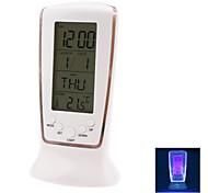 Blue Backlight Digital LCD Music Alarm Clock Calendar Thermometer (White, 3xAAA)