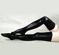 Shiny Metallic Black Long Stockings(2 Pieces)