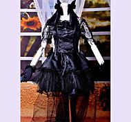 Larga cola de manga corta de la rodilla-longitud satinado vestido de encaje y Negro Gothic Lolita