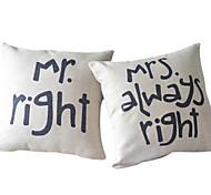 conjunto de 2 romance do casal de algodão / linho fronha decorativo