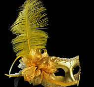 Classic Feather and Flower Yellow PVC Holiday Half-face Mask