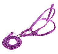 Dog Harness / Leash Flower Blue / Pink / Purple / Orange Genuine Leather