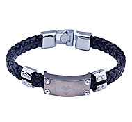Fashion Men'S Leather Weave Alloy  Bracelet