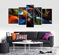 Modern Abstract Wall Clock in Canvas Set of 5