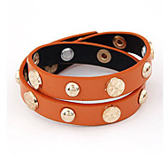 Joker Metal Accessories Double Leather Bracelet