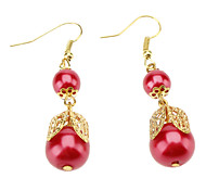 Red Pearl Bow Earrings