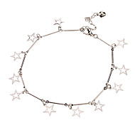 Hollow Out Star Pendant Metal Anklet(Platinum)
