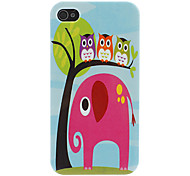 Owl and Elephant Pattern Hard Case for iPhone 4/4S