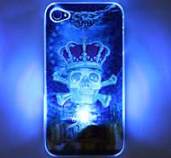 Skull Imperial Crown Caso LED Flash del cellulare 3D modello rigido per iPhone 4/4S (multi-colore)