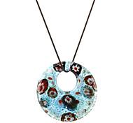 Ocean Blue Round Shape Flower Patten Colored Glaze Necklace