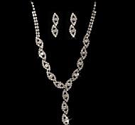 strass di elevata qualità con il ceco in lega placcata di gioielli da sposa matrimonio, tra collana e orecchini
