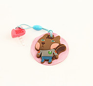 Cartoon Rubber Squirrel Anti-Dust Earphone Jack with Mobil Phone Screen Cloth
