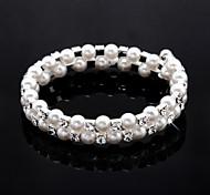 Damen-Strass-Strang / Tennis Armband in White Pearl