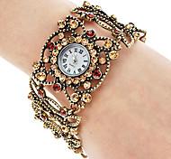 Mujeres aleación analógico reloj pulsera de cuarzo (Oro)