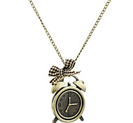 Vintage Alarm Clock Metal Necklace