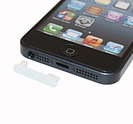 White One-piece Pattern Anti-dust Earphone Jack for iPhone 5