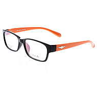 LAI ZI Unisex Transparent Lens Black Frame Orange Temple Optical Glasses