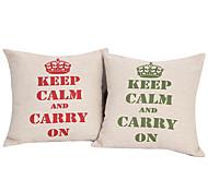 Juego de 2 Texto de algodón / lino Cubierta almohada decorativa