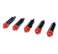 20620 Car Cigarette Lighter Plug Adapter - Black + Red (DC 12~24V / 5 PCS)
