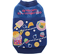 Anti-Mosquito Function Delicious Dessert Pattern T-Shirt for Dogs (Assorted Color,XS-XL)