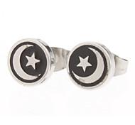 8 mm Moon And Eliane Symbol Stainless Steel Stud Earrings