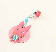 Cartoon Rubber Rabbit Anti-Dust Earphone Jack with Mobil Phone Screen Cloth