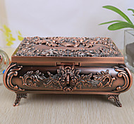 Vintage Rose Design Alloy Women's Jewelry Box