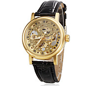 Women's Hollow Style PU Analog Mechanical Wrist Watch (Black)