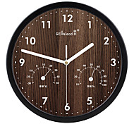 """12""""H Metal Wall Clock with Thermometer & Hygrometer"""