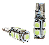 T10 1.5W 9x5050SMD Ice Blue Light Bulb LED per auto Strumento / License Plate Lamps (DC 12V, 1-Pair)
