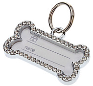 Dog tags Charming Cute Bone Type ID Tag with Rhinestones for Dogs