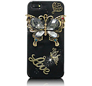 For iPhone 5 Case Rhinestone / Embossed Case Back Cover Case Butterfly Hard PC iPhone SE/5s/5