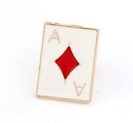 Banhado a ouro Alloy Acrílico Pôquer teste padrão do diamante Broche