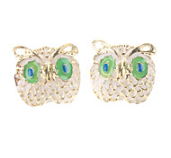 White And Green Eyed Owl Earrings