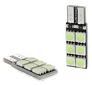 T10 2W 12x5050SMD Ice Blue Light Bulb LED per Strumento / Licenza Car Targa / Girare lampade di segnalazione (DC 12V, 1-Pair)