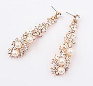 Sweety Alloy Zircon Pearl Flower Pattern Earrings