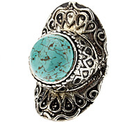 Oval Carved Silver Turquoise Ring