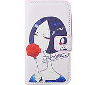 Cartoon Girl Smelling Flower Pattern Leather Hard Case for iPhone 4/4S(Pink)