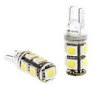 T10 1.5W 9x5050SMD White Light LED Bulb for Car Instrument/Side Marker Lamps (DC 24V, 1-Pair)