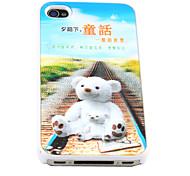 3D Сменные белый мишка Pattern Жесткий чехол для iPhone 4/4S