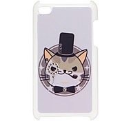Cat Pattern Hard Case with Rhinestone for iPod Touch 4