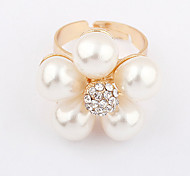 Gold Plated Alloy Pearl Flower Pattern Ring