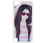 Red Glasses Pattern Hard Case with Rhinestone for iPod Touch 5